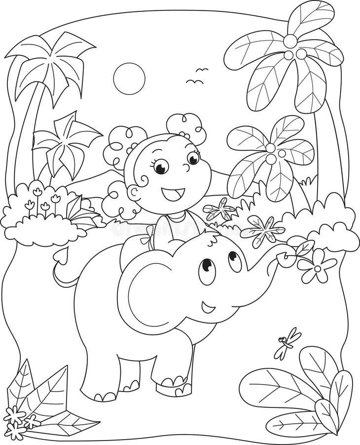 Nettes Mädchen, das einen Elefanten reitet lizenzfreie abbildung