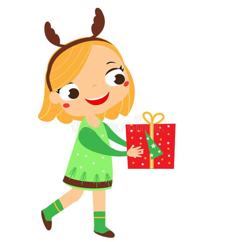 Nettes Mädchen, das Geschenkbox hält Weihnachtskinder-Reihe Guten Rutsch ins Neue Jahr-Kinder vektor abbildung