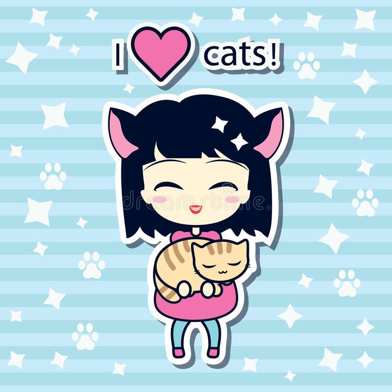 Nettes Mädchen, das kleine Katze hält stock abbildung