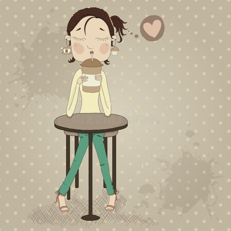 Nettes Mädchen, das am trinkenden Kaffee der Tabelle sitzt stock abbildung
