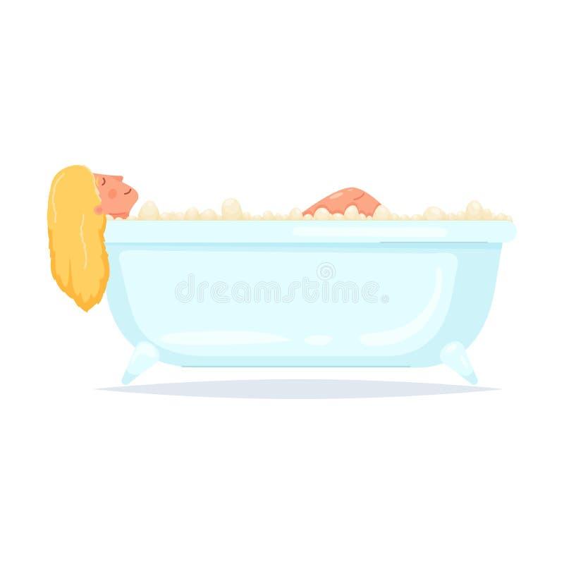 Nettes Mädchen des blonden Haares ein Bad im Badezimmer nehmen stock abbildung