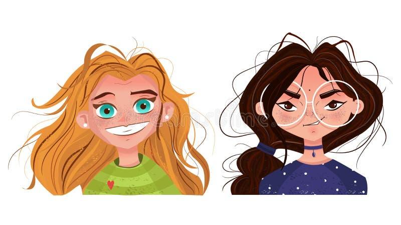 Nettes Mädchen des Charaktergefühl-Avataras mit dem rotem Haar und Brunette in den Gläsern lizenzfreie abbildung