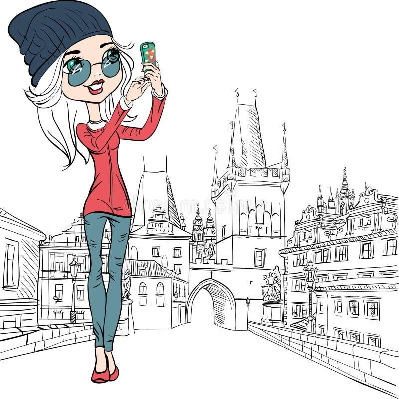 Nettes Mädchen des Vektors macht selfie in Prag stock abbildung