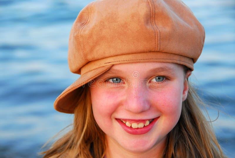 Nettes Mädchen In Einem Hut Lizenzfreies Stockfoto