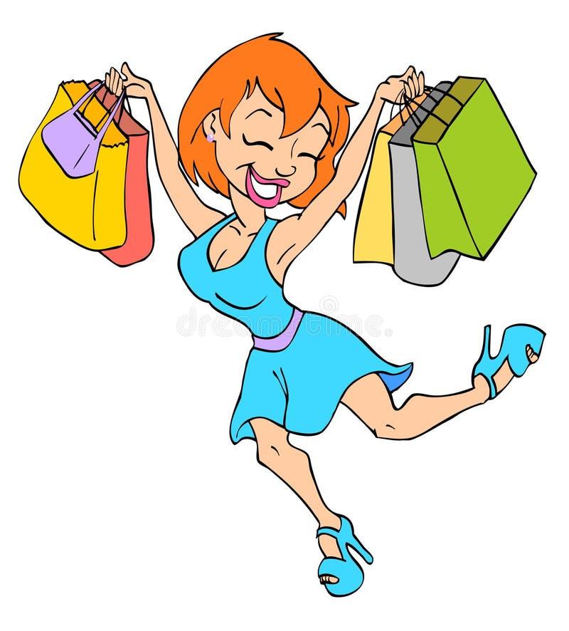 Nettes Mädchen-Einkaufen stock abbildung