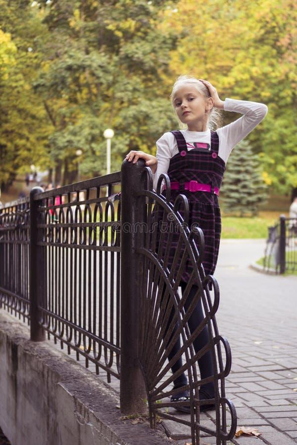 Nettes Mädchen im Freien am Herbst stockbild
