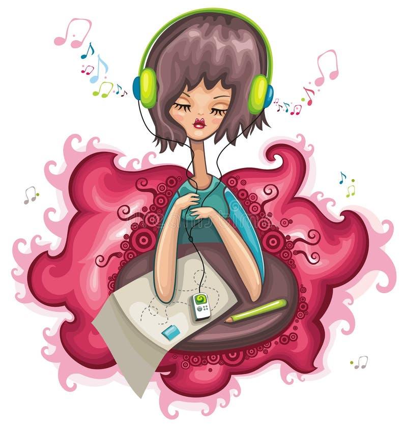 Nettes Mädchen ist hörende Musik. vektor abbildung