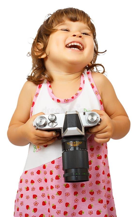 Nettes Mädchen Llittle mit Kamera lizenzfreies stockbild