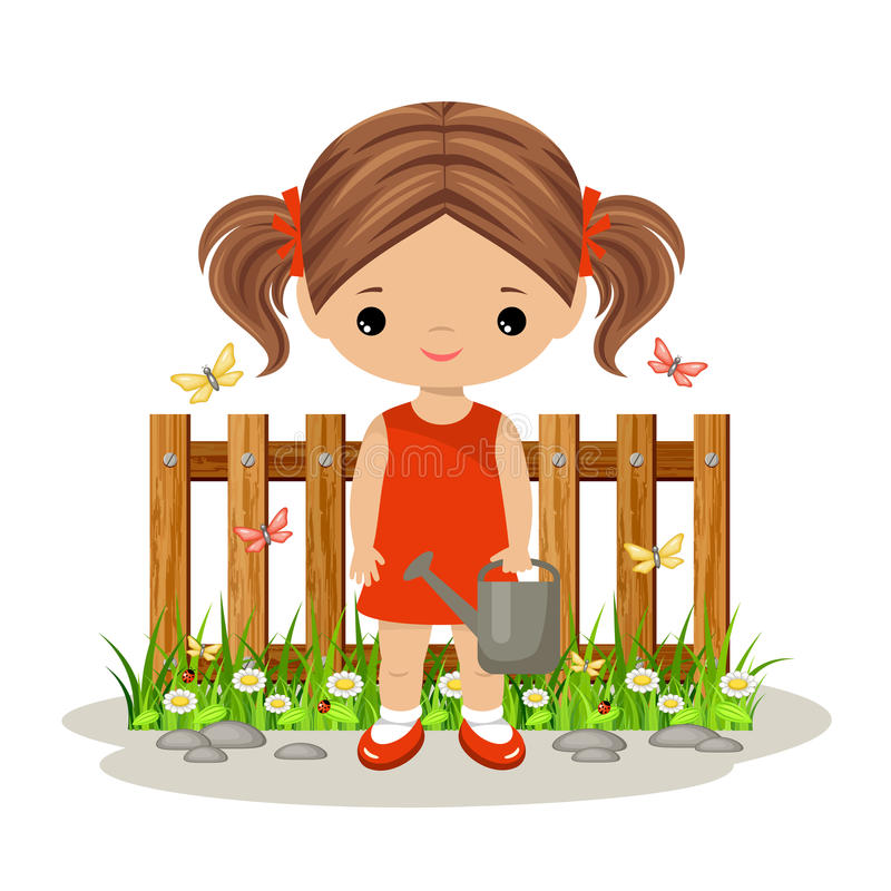 Nettes Mädchen mit einer Gießkanne gardening vektor abbildung