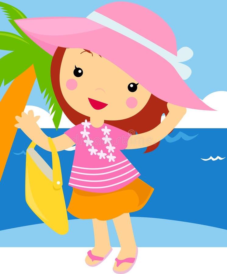 Nettes Mädchen mit Einkaufstasche auf dem Strand vektor abbildung