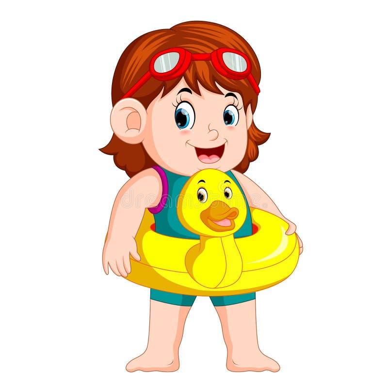 Nettes Mädchen mit Entenschwimmaufbereitungsring vektor abbildung