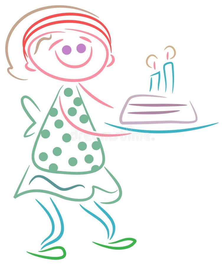 Nettes Mädchen mit Geburtstageskuchen stock abbildung