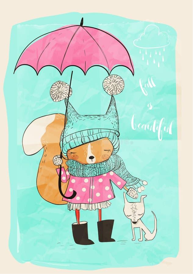 Nettes Mädchen mit Hund und Regenschirm stock abbildung