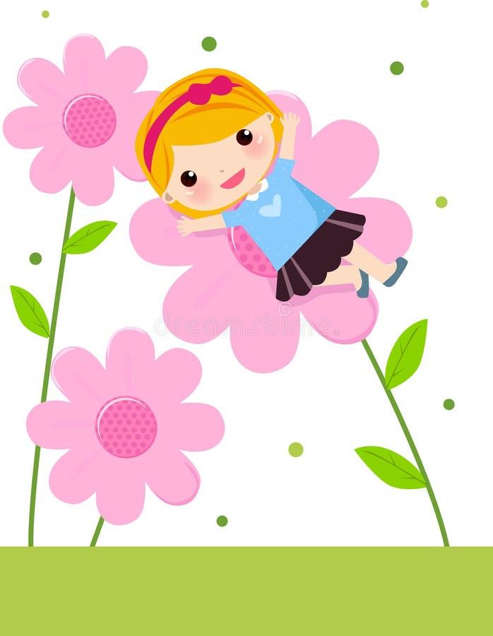 Nettes Mädchen und Blume stock abbildung