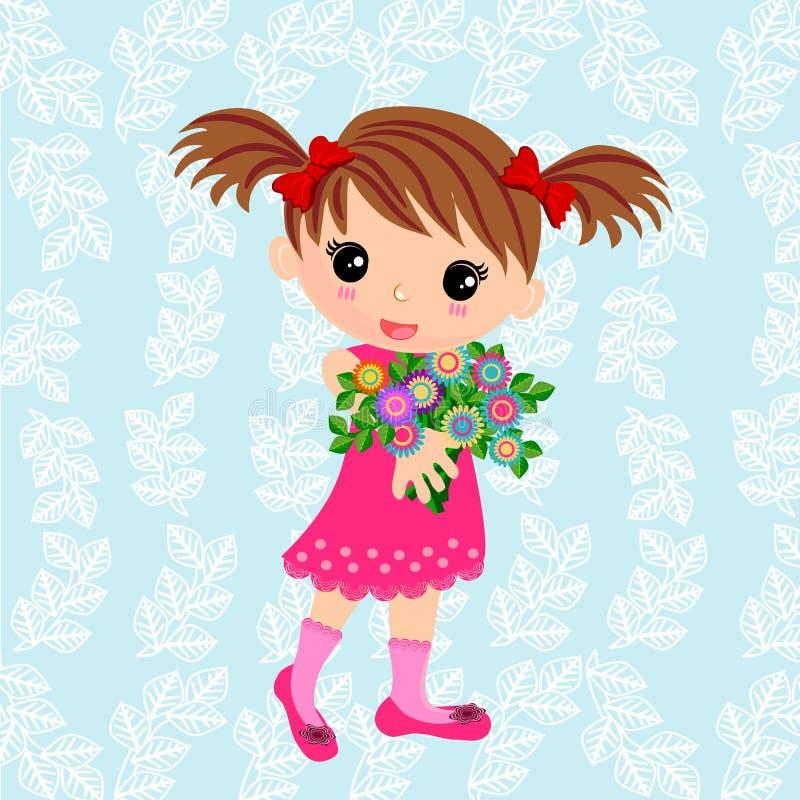 Nettes Mädchen und Blumenstrauß von Blumen stock abbildung