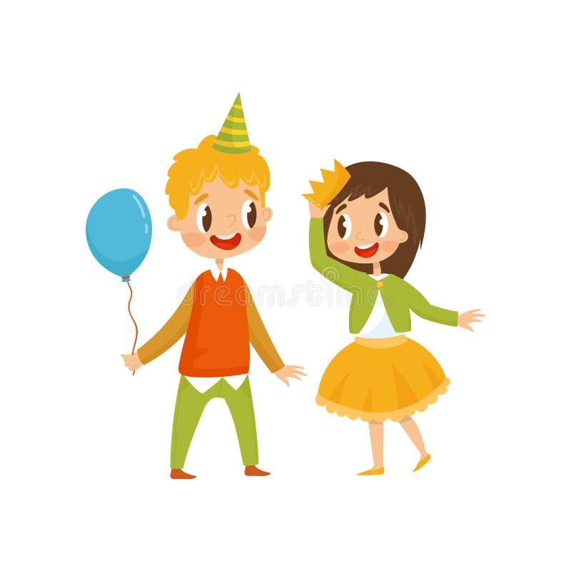 Nettes Mädchen und Junge an der Geburtstagsfeier, Junge im Parteihut, der Ballonkarikatur-Vektor Illustration auf einem weißen Hi lizenzfreie abbildung