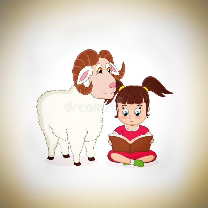 Nettes Mädchen und Schafe lizenzfreie stockfotografie