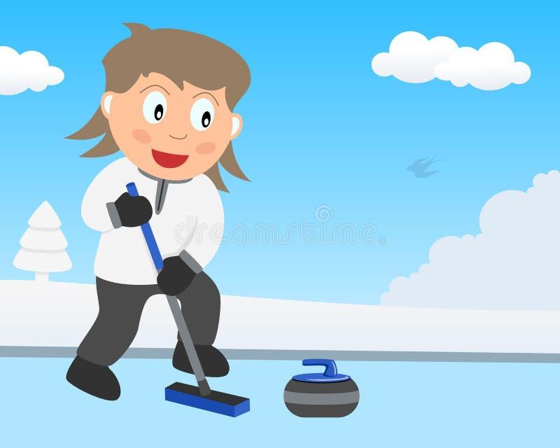 Nettes Mädchen, welches das Winden auf Eis im Park spielt lizenzfreie abbildung