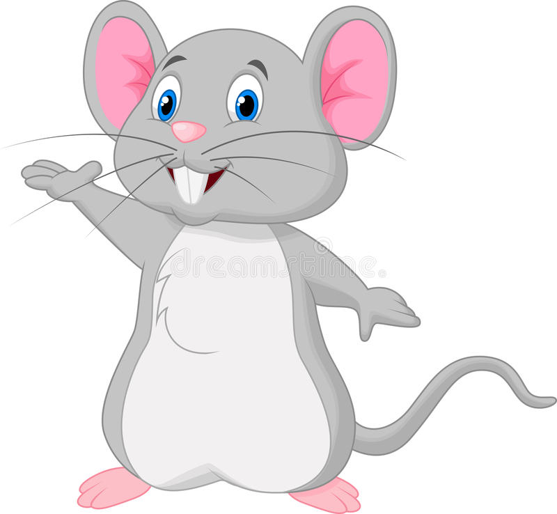 Nettes Mäusekarikaturwellenartig bewegen vektor abbildung
