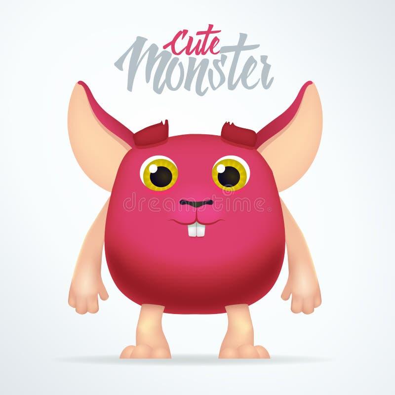 Nettes magentarotes Monsterkaninchen mit den großen Ohren Gespenstischer fetter Charakter des Spaßes lokalisiert auf hellem Hinte lizenzfreie abbildung