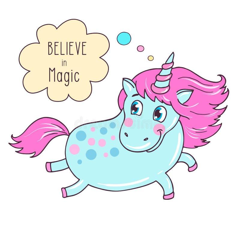 Nettes magisches blaues Einhorn sagen glauben an Magie stock abbildung