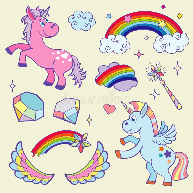 Nettes magisches Einhorn, Regenbogen, feenhafte Flügel, Stabssterne und Kristallvektorsatz vektor abbildung