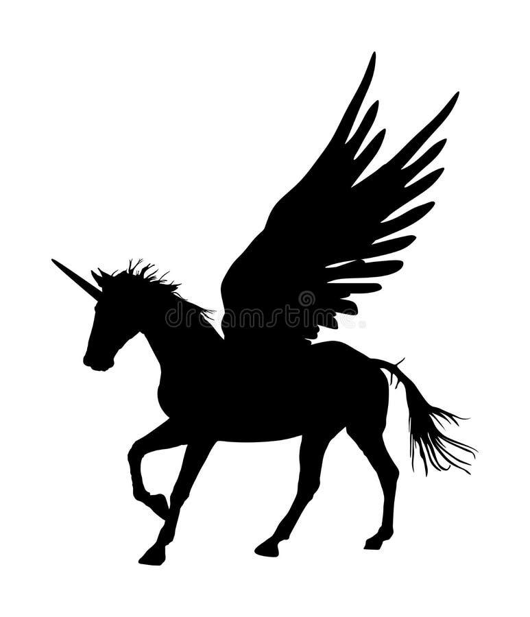 Nettes magisches Unicorn Pegasus-Schattenbild Mythologiefliegen Pferd vom Traum Symbol der Freiheit lizenzfreie abbildung