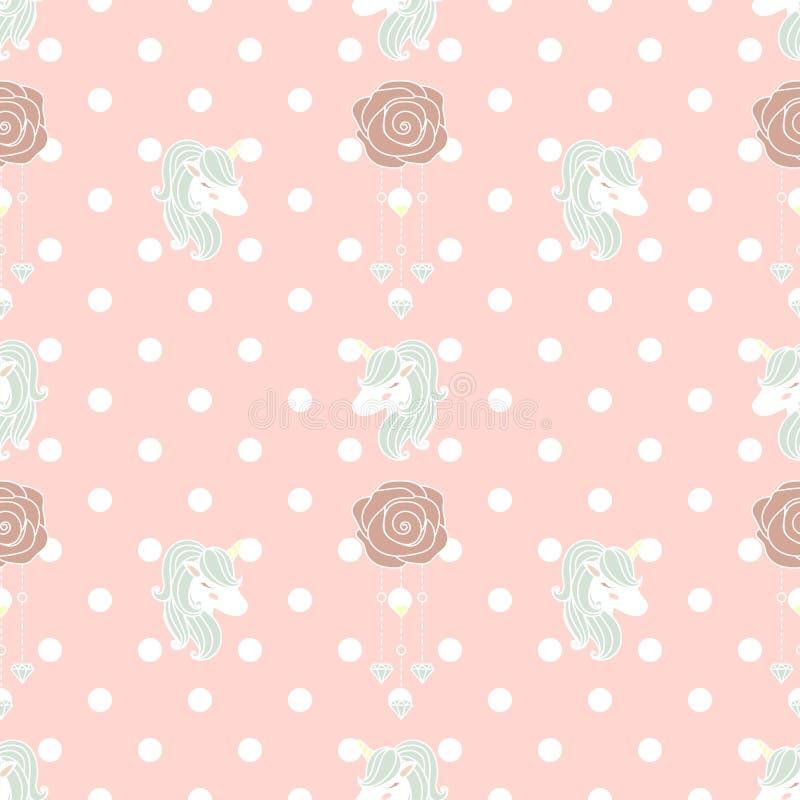 Nettes Muster Einhorn und alte Rose stockfotografie
