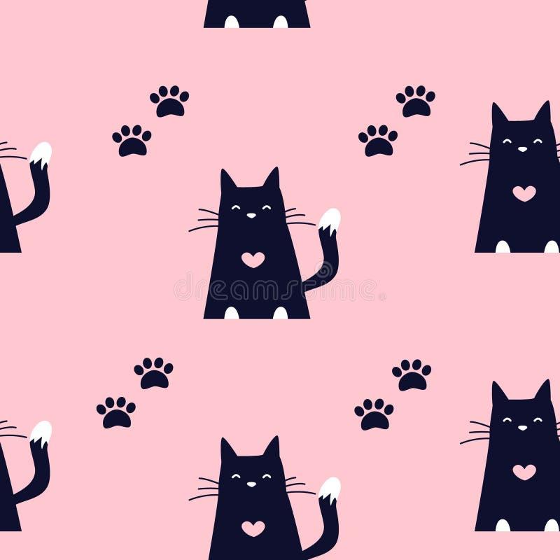 Nettes Muster mit schwarzen Katzen und Spuren von Tatzen auf rosa Hintergrund Verzierung für Gewebe und die Verpackung vektor abbildung