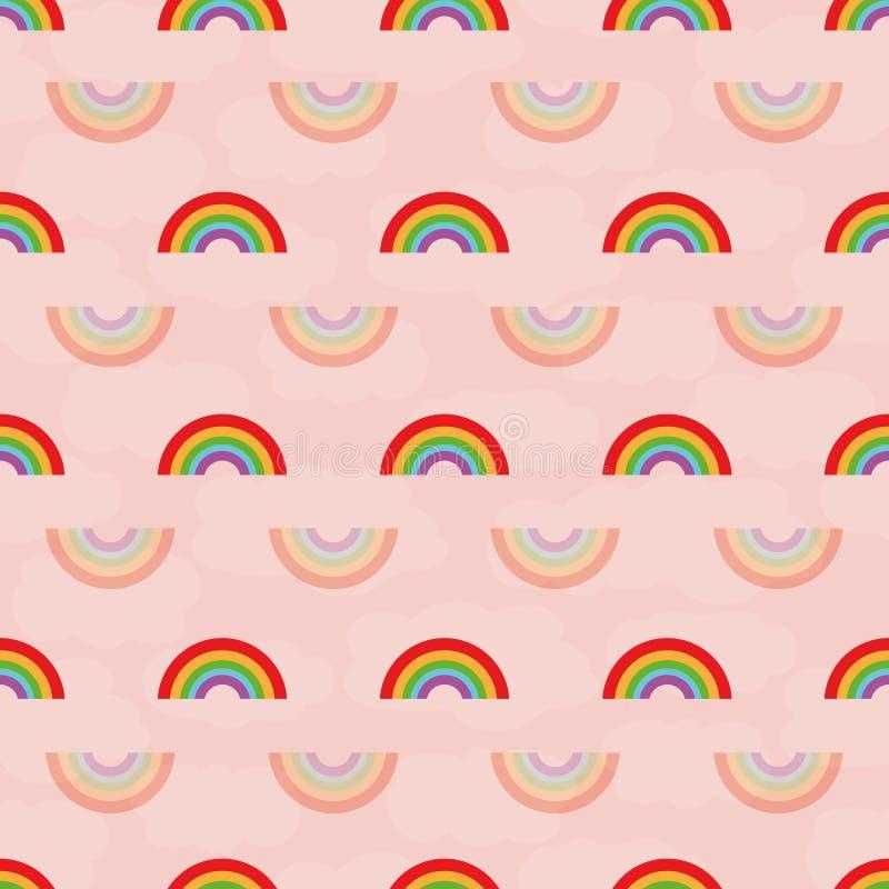 Nettes nahtloses geometrisches Vektormuster der Mehrfarben- und transparenten Regenbogen auf strukturiertem rosa Hintergrund der  vektor abbildung