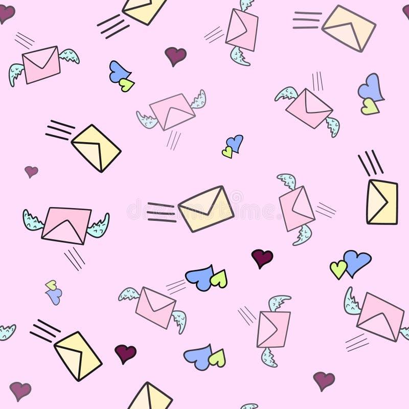 Nettes nahtloses Liebesmuster mit Post, Wind und Beitrag stempelt auf rosa Farbe Übergeben Sie gezogenes im Gekritzel, Karikatura vektor abbildung