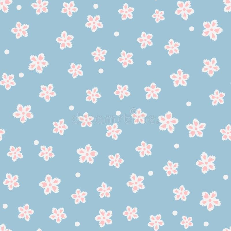 Nettes nahtloses mit Blumenmuster Chaotisch gesetzte einzelne abstrakte Blumen und Punkte stock abbildung
