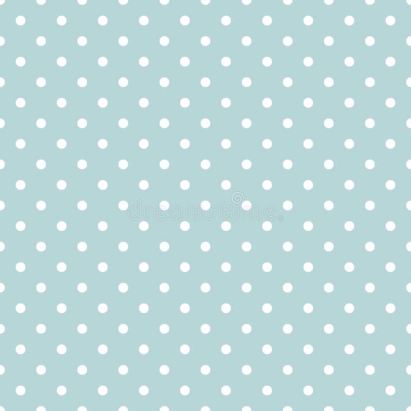 Nettes nahtloses Muster, Beschaffenheit für Hintergrund mit kleinen weißen Kreisen auf einem blauen Pastellhintergrund stock abbildung