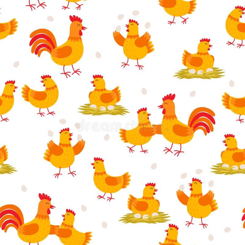 Nettes nahtloses Muster der Hennen und der Hähne Hühnerzeichentrickfilm-figuren lokalisiert auf weißem Hintergrund im flachen Ent lizenzfreie abbildung