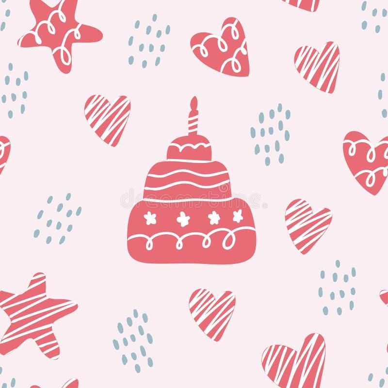 Nettes nahtloses Muster mit alles Gute zum Geburtstag vektor abbildung