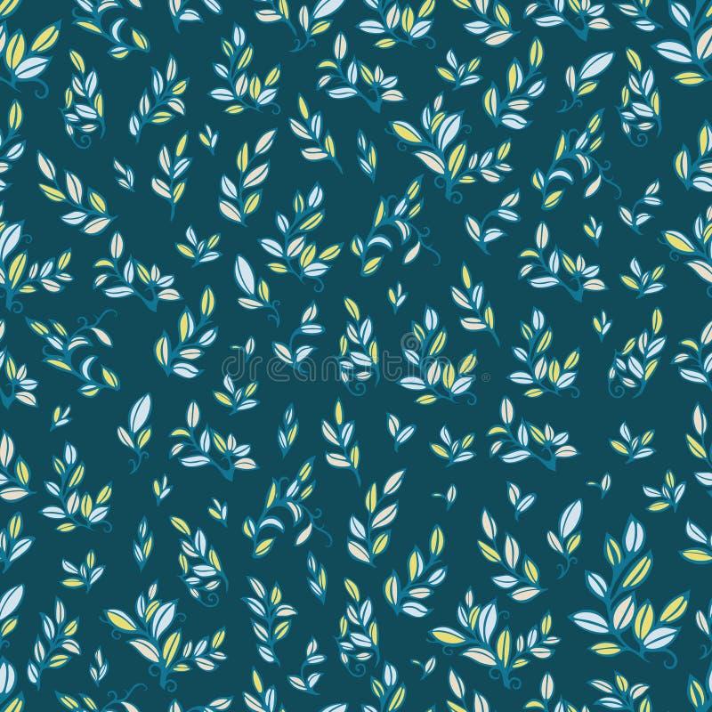 Nettes nahtloses Muster mit cyan-blauen Blättern lizenzfreies stockfoto