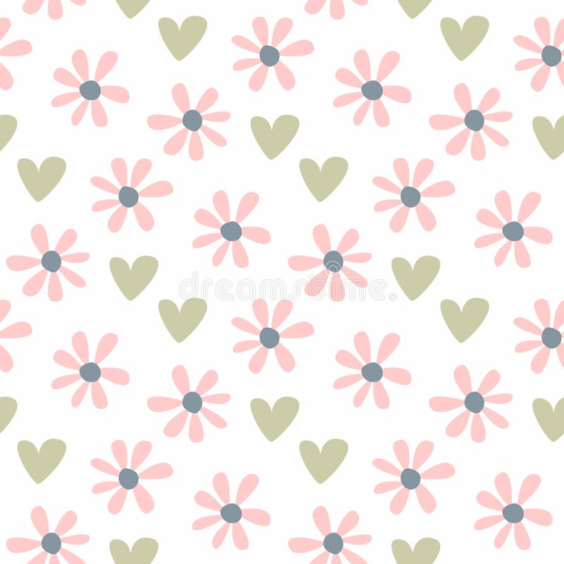 Nettes nahtloses Muster mit dem Wiederholen von Blumen und von Herzen Pastellblumendruck lizenzfreie abbildung