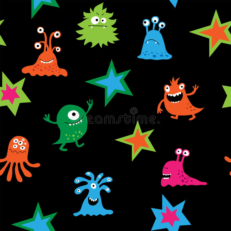 Nettes nahtloses Muster mit hellen Kind-` s Mustern und monste stock abbildung