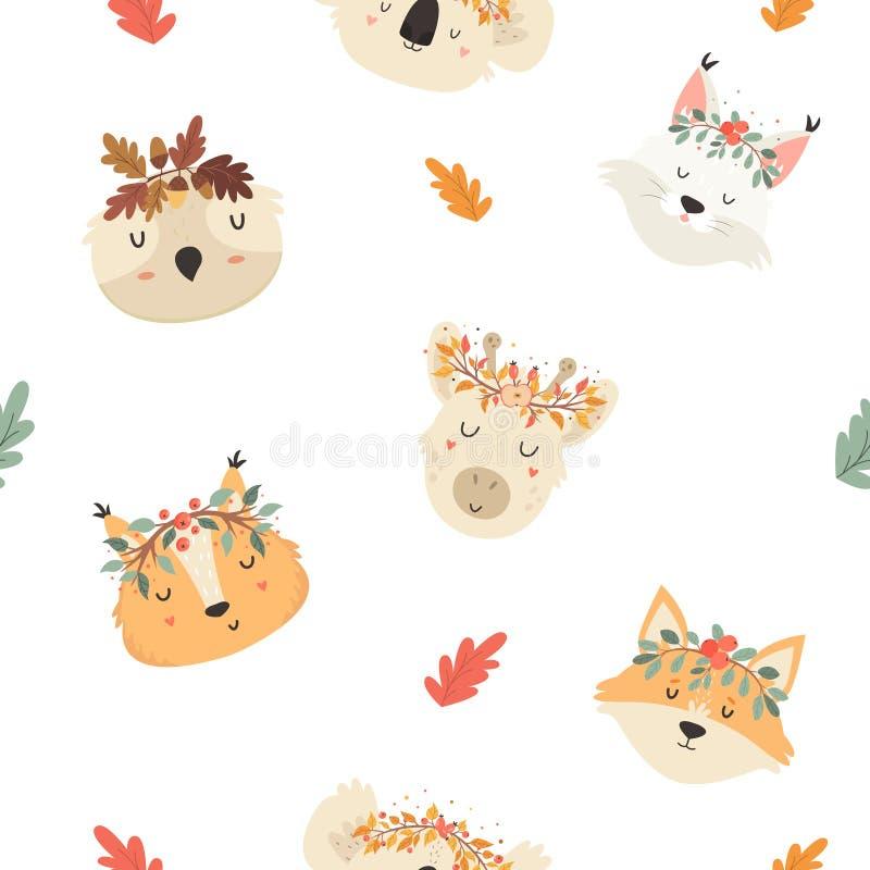 Nettes nahtloses Muster mit Herbsttieren in der Krone stock abbildung