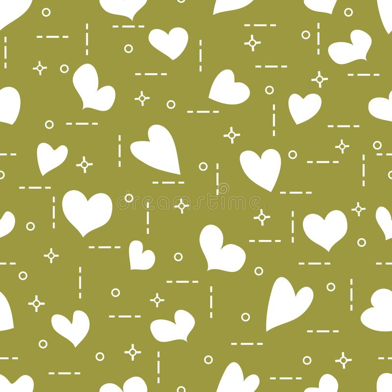 Nettes nahtloses Muster mit Herzen Schablone f?r Design, Gewebe, Druck Valentinsgru? `s Tag lizenzfreie abbildung