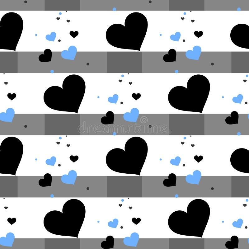 Nettes nahtloses Muster mit Herzen und horizontalen Linien Schablone für Design von Postkarten, Abdeckungen, Kleidung der Kind s, stock abbildung