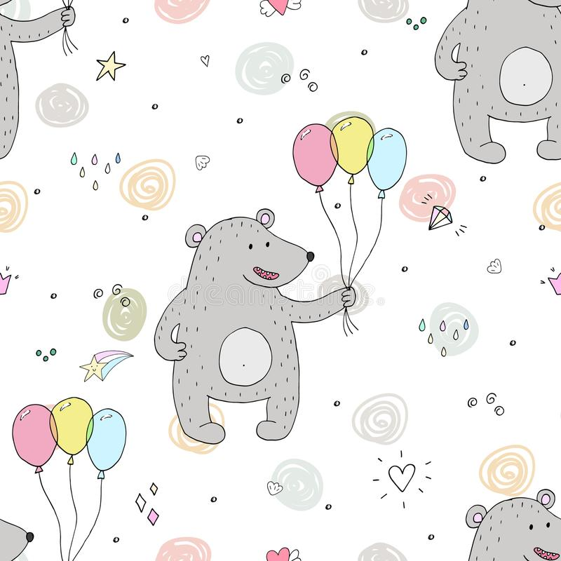 Nettes nahtloses Muster mit lustigem Teddybären Auch im corel abgehobenen Betrag stock abbildung