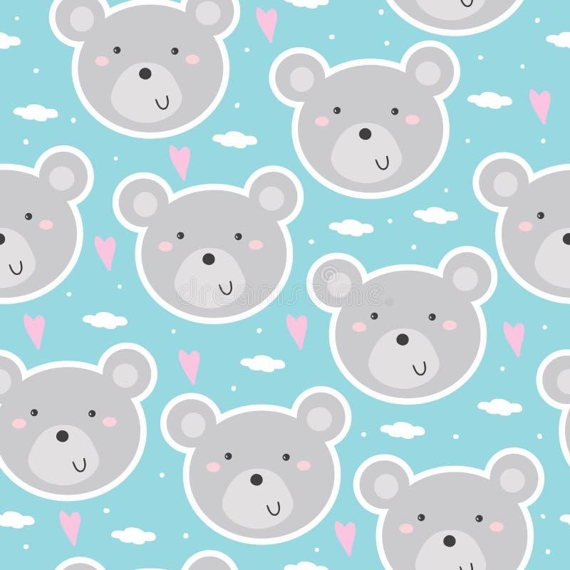 Nettes nahtloses Muster mit lustigem Teddybären Auch im corel abgehobenen Betrag vektor abbildung