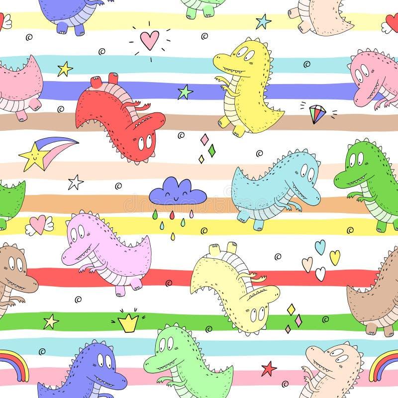 Nettes nahtloses Muster mit lustigen Dinosauriern Auch im corel abgehobenen Betrag vektor abbildung