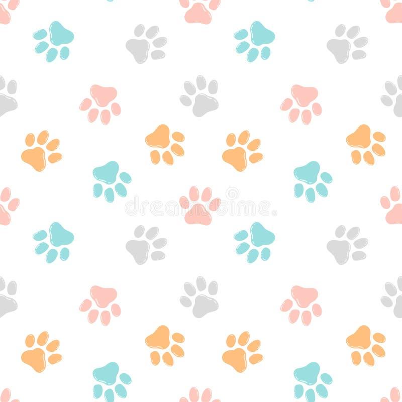 Nettes nahtloses Muster mit Pfotenabdrücken Alter Labrador-Apportierhund kaut Baumprotokoll lizenzfreie abbildung