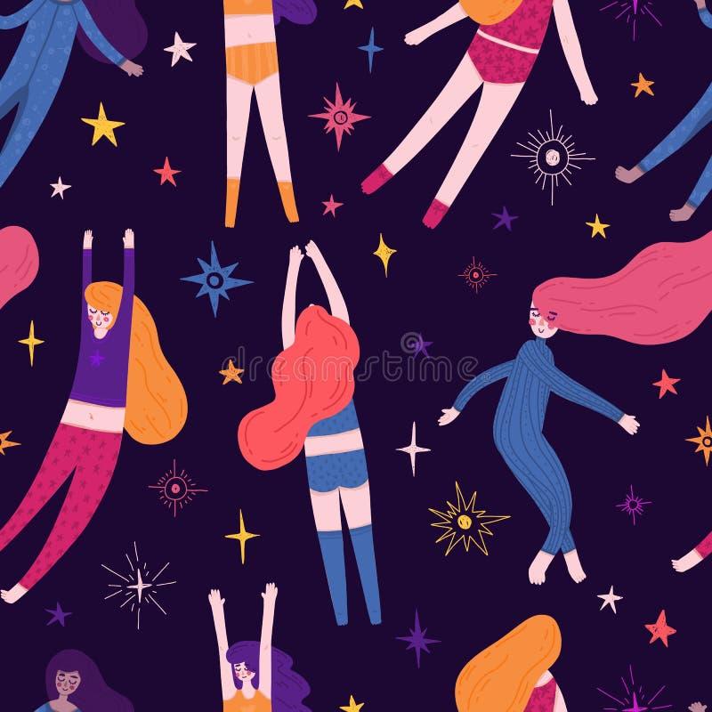 Nettes nahtloses Muster mit Raumelementen und hübsches Mädchen in den Pyjamas Karikaturarttapete mit schlafendem Fliegenmädchen u lizenzfreie abbildung