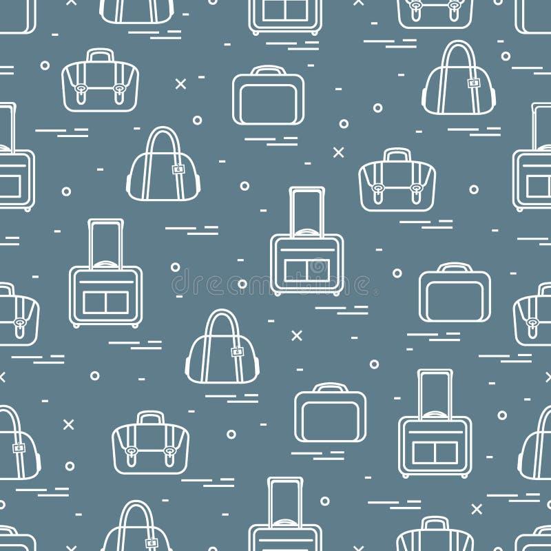 Nettes nahtloses Muster mit unterschiedlicher Tasche und Koffer f?r Reise Sommerzeit, Ferien Design f?r Fahne, Plakat oder Druck lizenzfreie abbildung