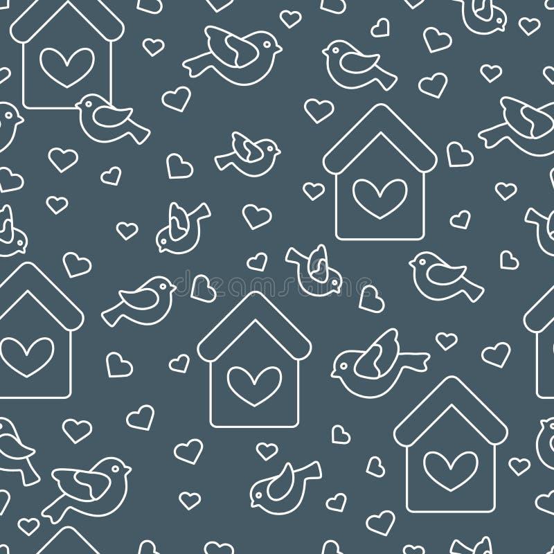 Nettes nahtloses Muster mit V?geln, Vogelh?usern und Herzen Schablone f?r Design, Gewebe, Druck Gru?karte Valentinsgru? ` s Tag lizenzfreie abbildung