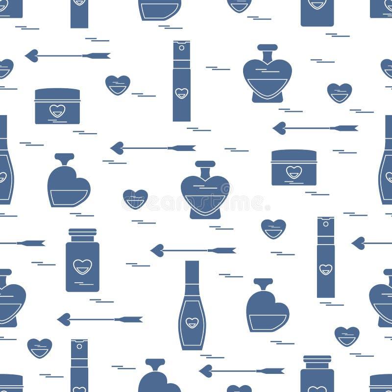 Nettes nahtloses Muster mit verschiedenem Zubehör für die Sorgfalt Ihres Körpers und Haares: Parfümflaschen, Creme, Haarspray und lizenzfreie abbildung