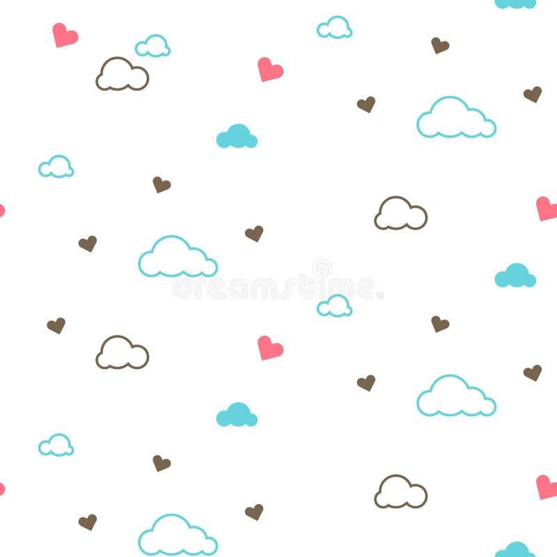 Nettes nahtloses Muster mit Wolken und Herzen Design für Kinder Auch im corel abgehobenen Betrag vektor abbildung